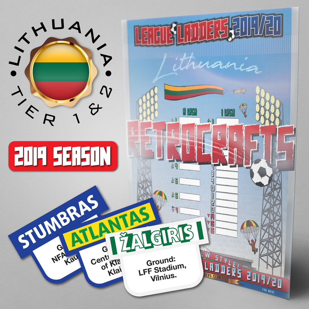 Lithuania Football League A Lyga and 1 Lyga Tiers 1 & 2 2019 Season League Ladders