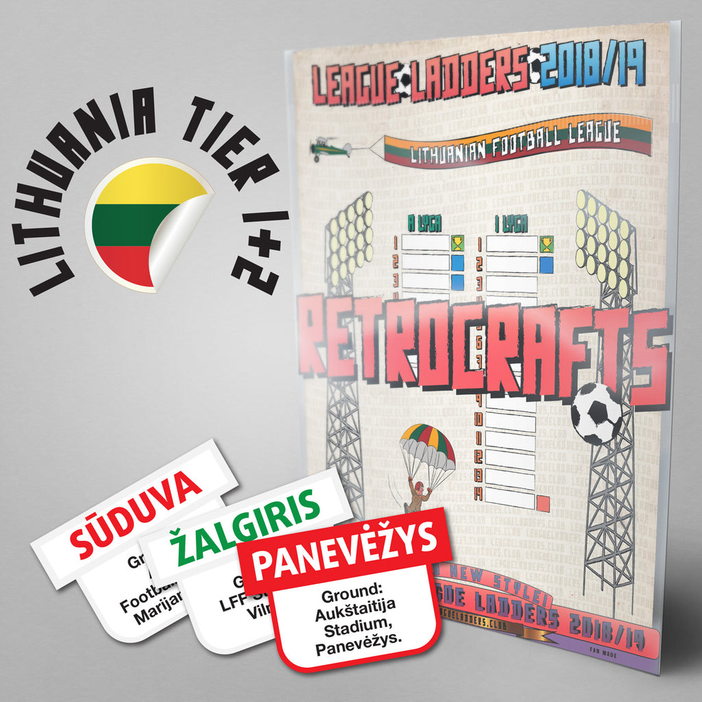Lithuania Football League A Lyga and 1 Lyga Tiers 1-2 2018/2019 Season League Ladders - NEW!