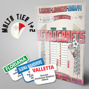 Malta Football League Premier League and First Division Tiers 1-2 2018/2019 Season League Ladders - NEW!