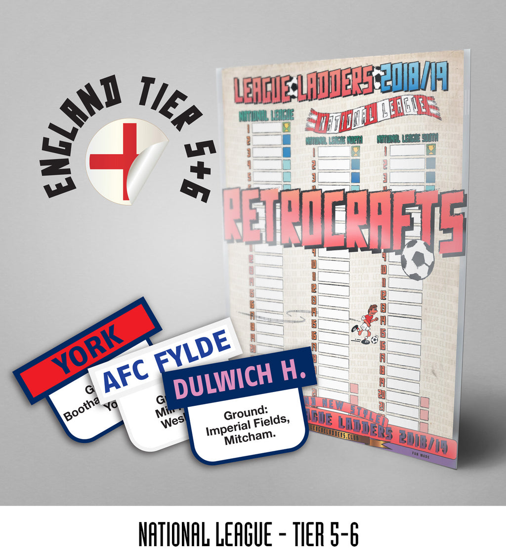 National League Steps 1&2 2018/2019 season League Ladders - New!