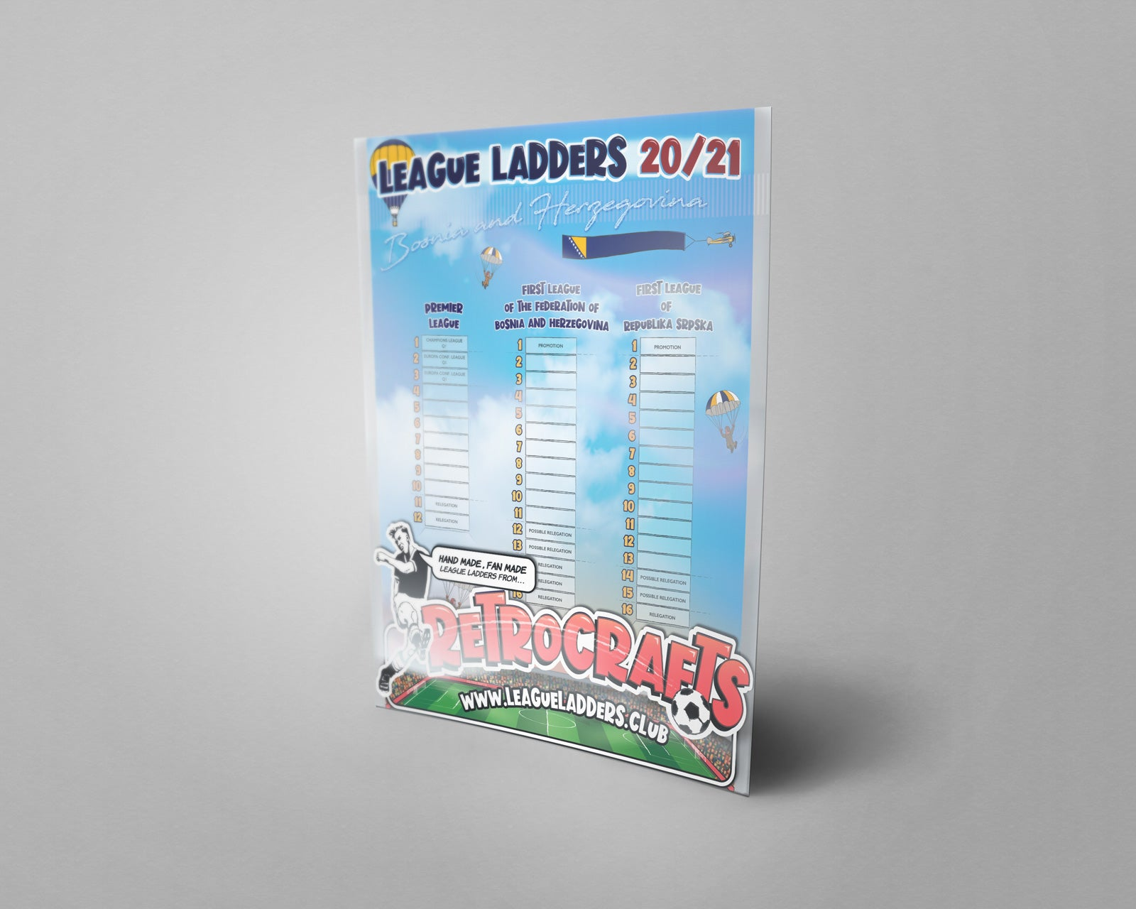 Bosnia and Herzegovina Football League Tiers 1 & 2 2020/21 Season League Ladders