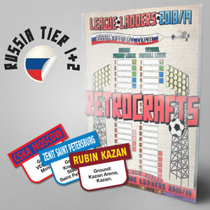 Russian Football League Tiers 1-2 2018/2019 Season League Ladders - NEW!