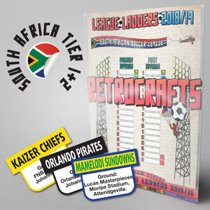 South Africa Football League Premier Division and First Division Tiers 1-2 2018/2019 Season League Ladders - NEW!