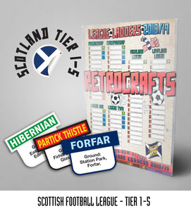 Scottish Football League Tiers 1-5 2018/2019 Season League Ladders - NEW!