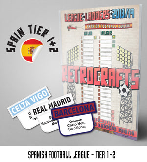Spanish Football League 'La Liga' Tiers 1-2 2018/2019 Season League Ladders - NEW!