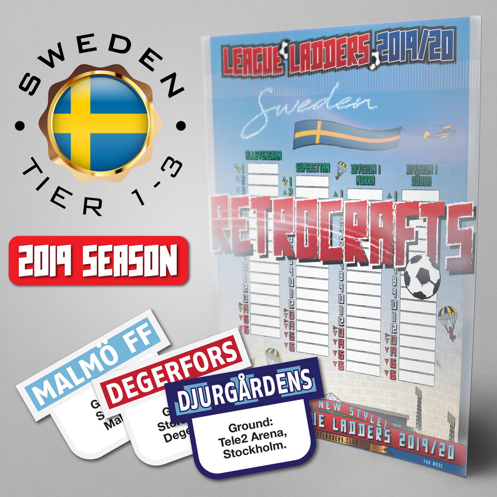 Sweden Football League Allsvenskan, Superettan, Division 1 Norra and Division 1 Södra Tiers 1-3 2019 Season League Ladders