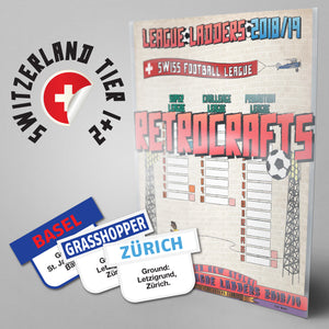 Swiss Football League Tiers 1-3 2018/2019 Season League Ladders - NEW!