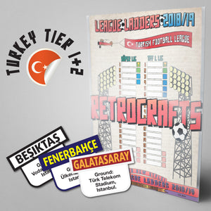 Turkish Football League Super Lig and TFF 1. Lig Tiers 1-2 2018/2019 Season League Ladders - NEW!