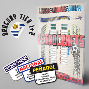 Uruguay Football League Primera Division and Segunda Division Tiers 1-2 2018 Season League Ladders - NEW!