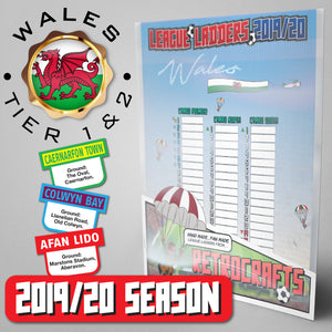 Wales Football League Cymru Premier, Cymru North and South Tiers 1 & 2 2019 Season League Ladders