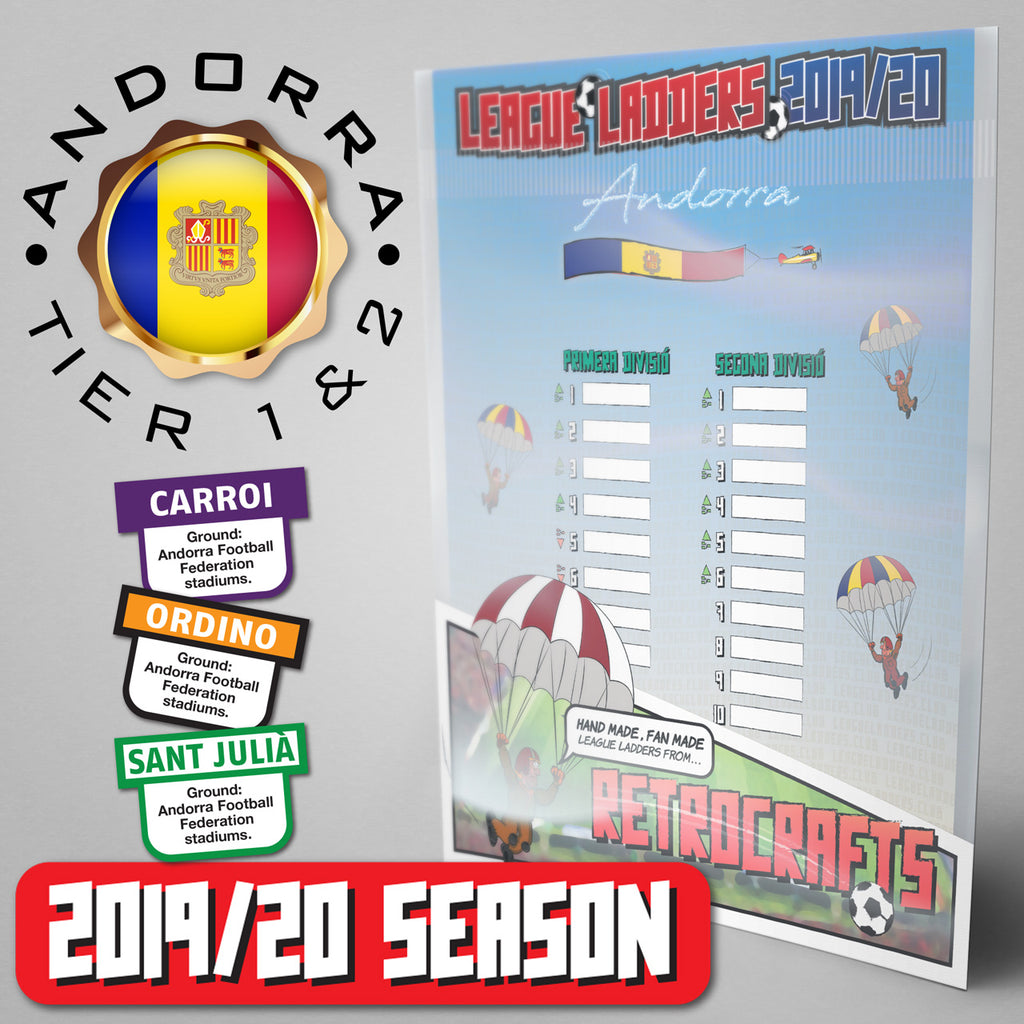 Andorra Football League Primera Divisió and Segona Divisió Tiers 1&2 2019/20 Season League Ladders