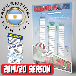 Argentina Football League Superliga and Primera B Nacional 1-2 2019 Season League Ladders