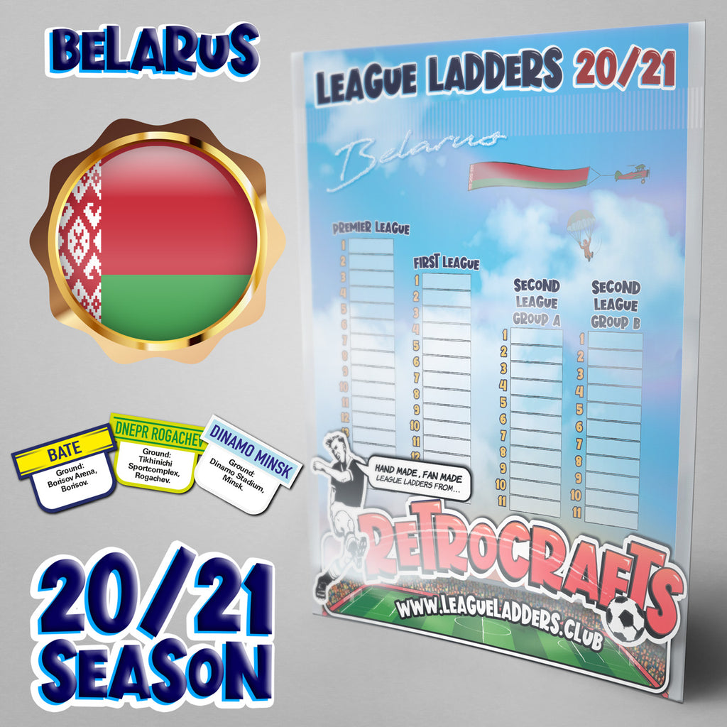 Belarus Football League Tiers 1-3 2020 Season League Ladders