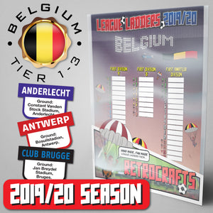Belgium Football League First Division 'A', 'B', 'Amateur' Tiers 1-3 2019 Season League Ladders