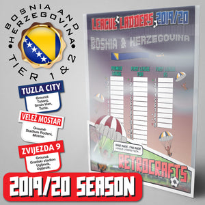 Bosnia & Herzegovina Football League Premier League, First League FBH, First League RS Tiers 1&2 2019 Season League Ladders