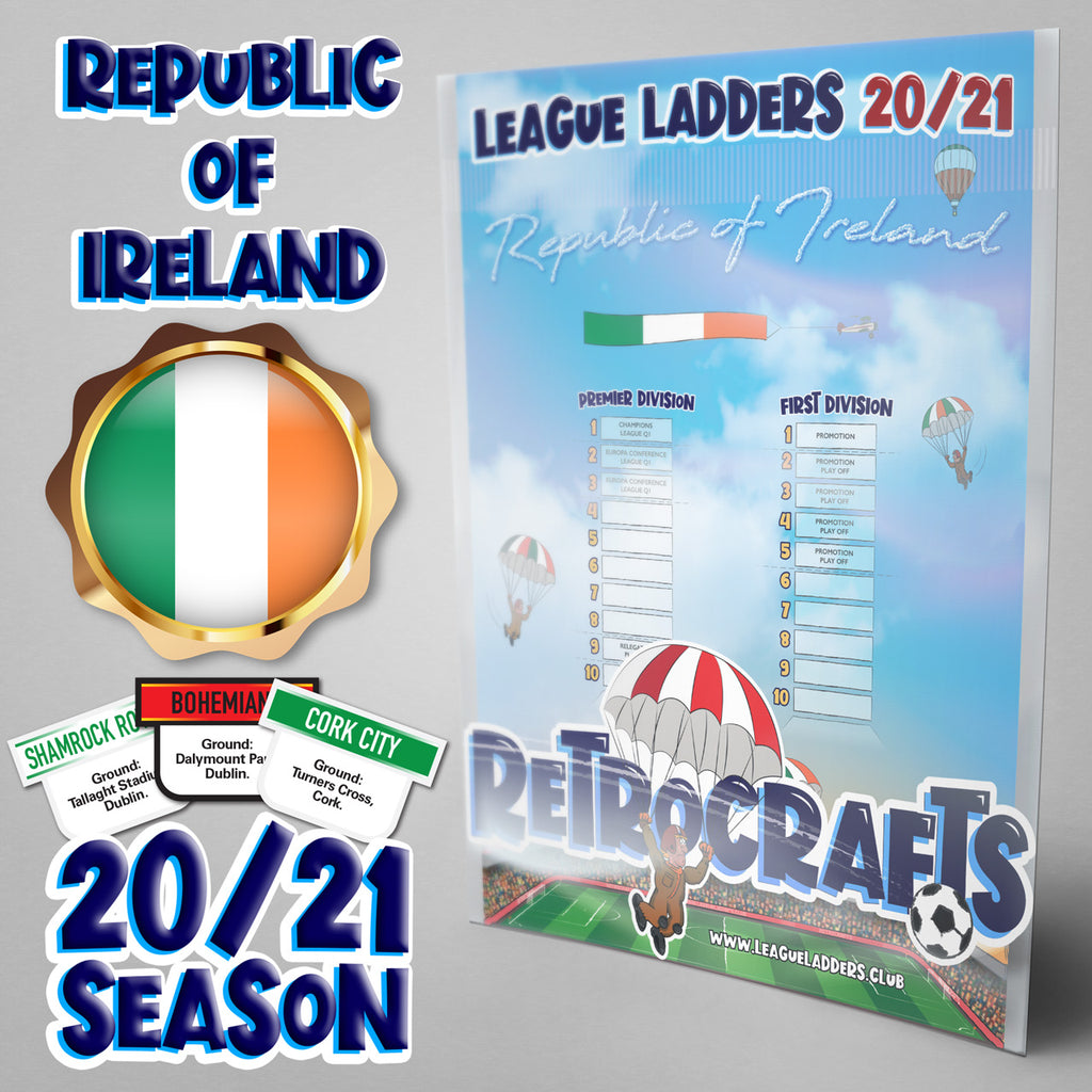 Republic of Ireland Football League Premier and First Divisions Tiers 1-2 2020 Season League Ladders