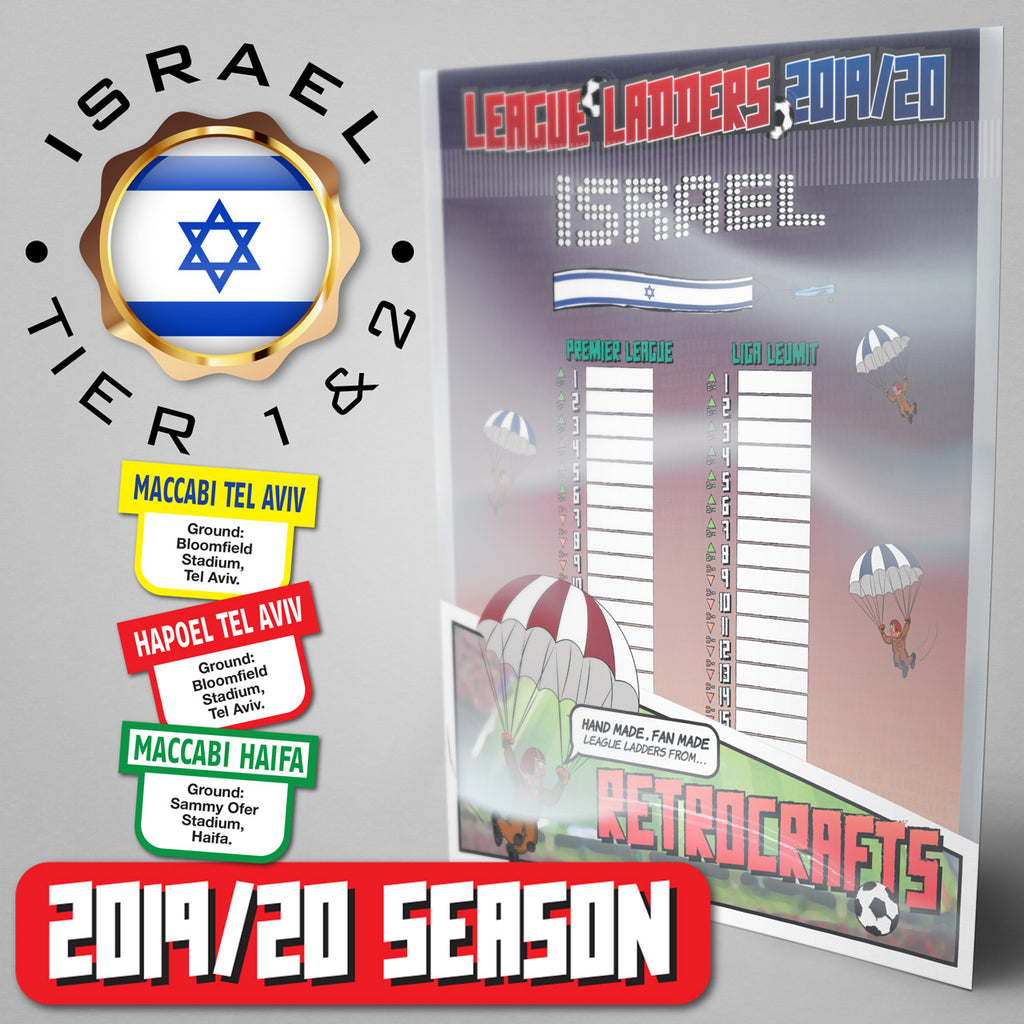 Israel Football League Premier League and Liga Leumit Tiers 1&2 2019/20 Season League Ladders