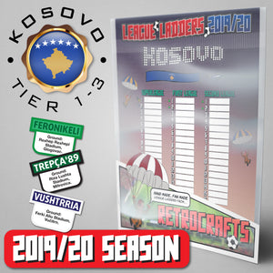 Kosovo Football League Superleague, First League and Second League Tiers 1-3 2019 Season League Ladders