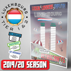 Luxembourg Football League National Division and Division of Honour Tiers 1&2 2019 Season League Ladders