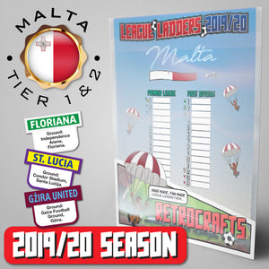 Malta Football League Premier League and First Division Tiers 1&2 2019 Season League Ladders