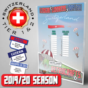 Switzerland Football League Premier League and Challenge League Tiers 1&2 2019 Season League Ladders