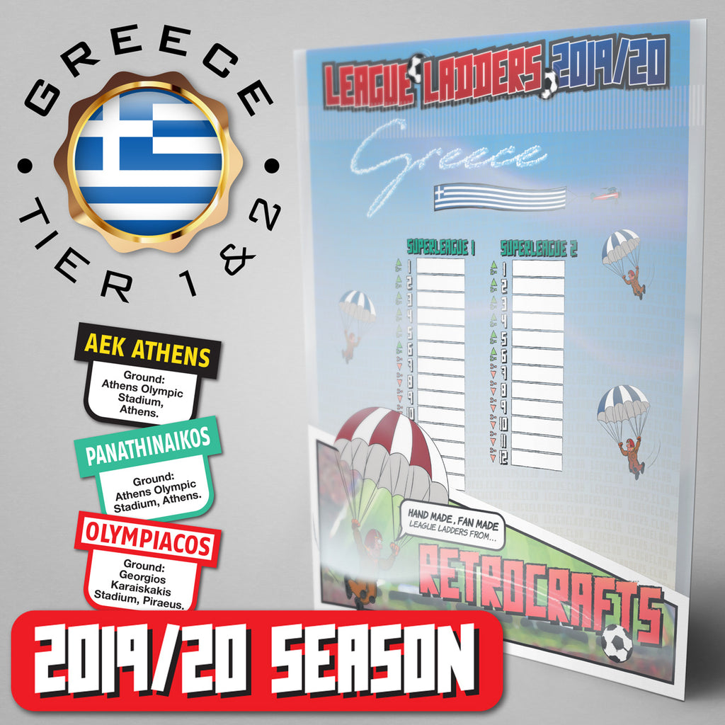 Greece Football League Superleague 1 and Superleague 2 Tiers 1&2 2019/20 Season League Ladders