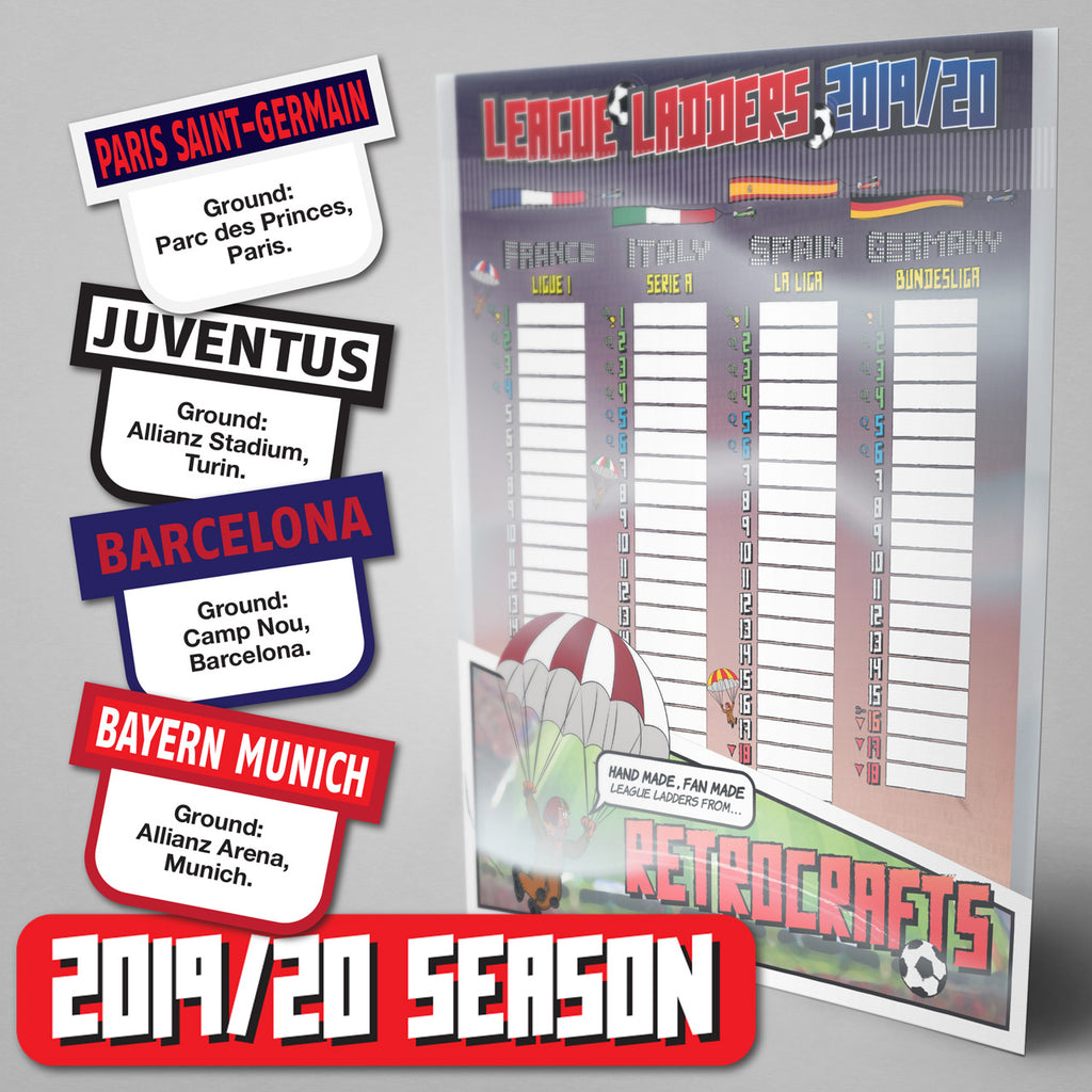 European Top Leagues - France, Italy, Spain, Germany 2019 Season League Ladders