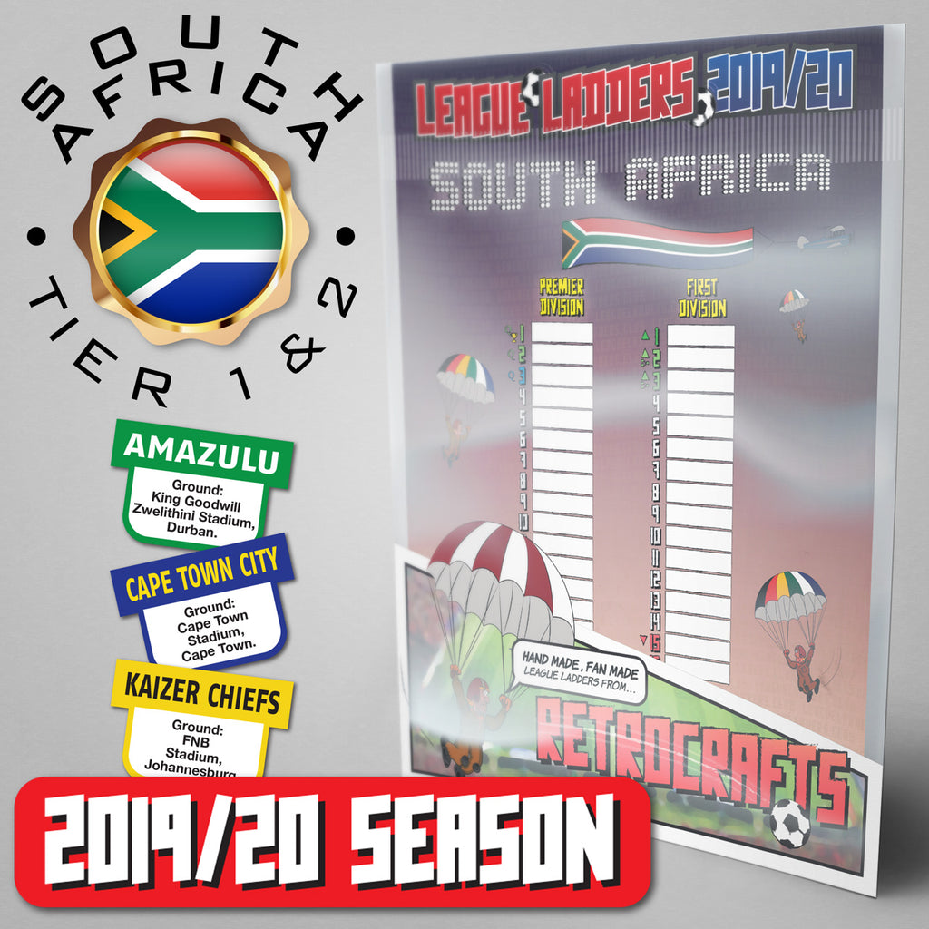 South Africa Football League Premier Division and First Division Tiers 1-2 2019 Season League Ladders