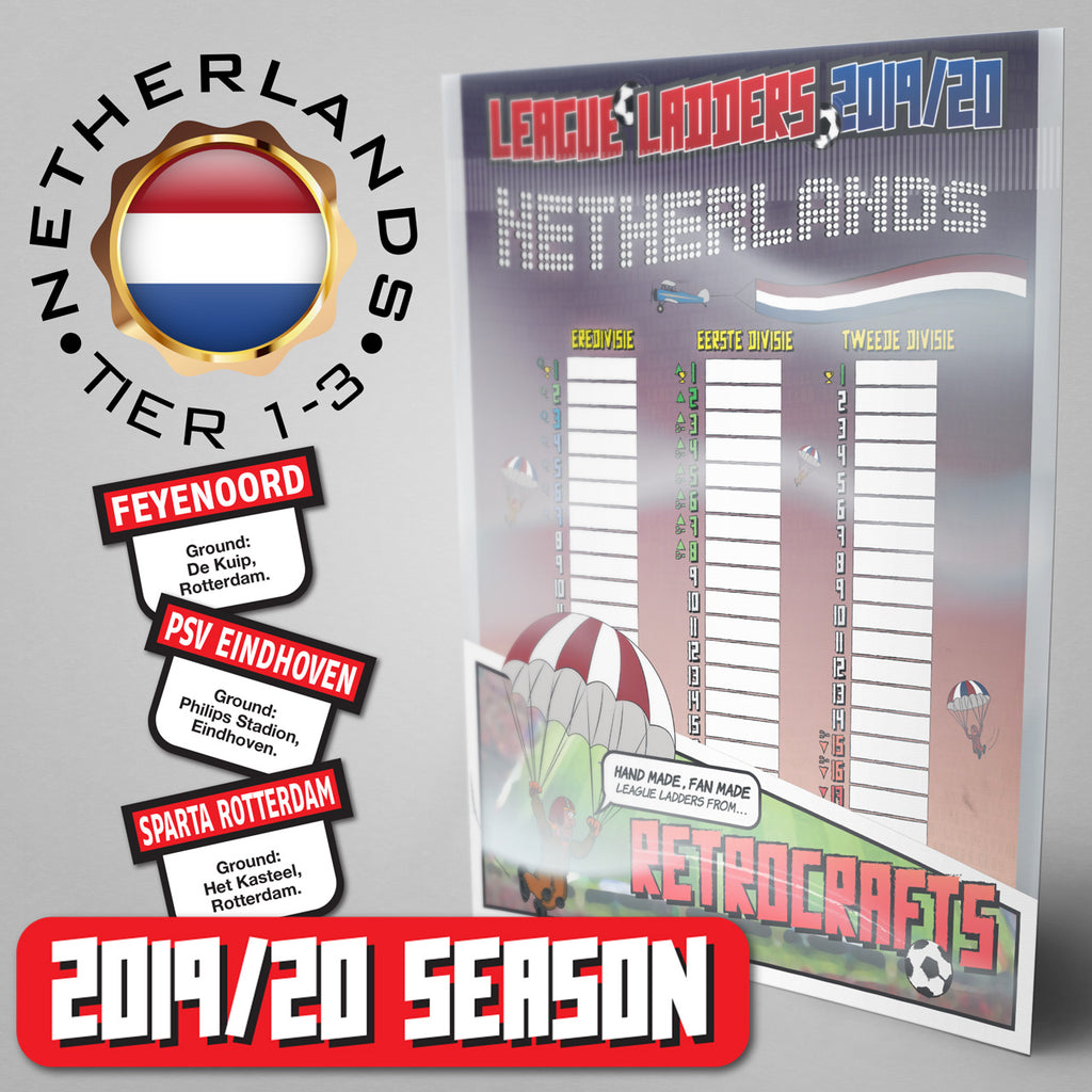 Netherlands Football League Eredivisie, Eerste Divisie and Tweede Divisie Tiers 1-3 2019 Season League Ladders