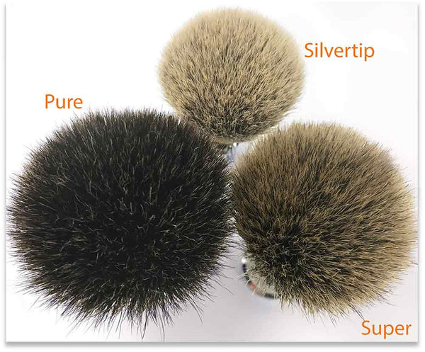Very distinctive differences between pure badger, super badger and silvertip shaving brushes