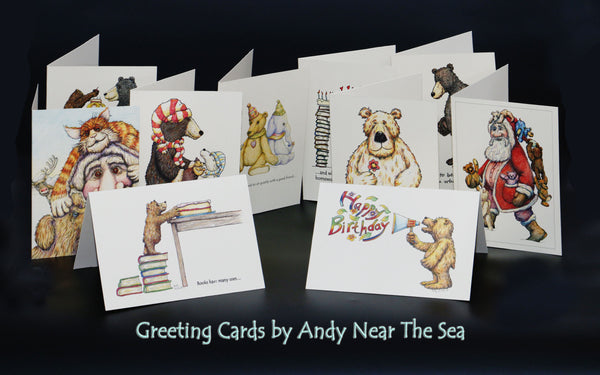 Hand Drawn and Home Printed Greeting Cards by Andy Near the Sea, Andy Cunningham