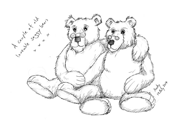 Two fairly old bears wearing spectacles sitting arm in arm with the caption 'A couple of old loveable saggy bears' drawn in black and white