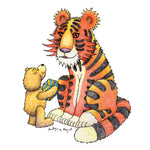 This card shows a teddy bear giving a large but very patient and well behaved tiger a birthday present, even the largest and fiercest beasts love receiving presents