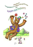 Woohoo!!! Congratulations on making it through the year and HAPPY BIRTHDAY!!!  A bear in a funny hat and waistcoat leaping through the air holding a red flower in one hand, below a pink rabbit is clapping