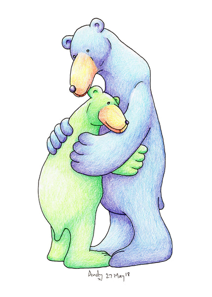 There's Always Love Here. Two bears hugging