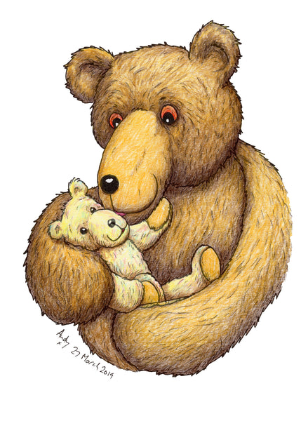 The Greatest Love, the love between a mother and her baby (or a father and his baby). A card for new babies and Mothers' Day and Fathers' Day  This is a simple, uncomplicated greeting card, just a bear holding a baby bear. You can see the love in the parent's eyes and the baby bear seems to be giggling with happiness. Probably my most love filled and emotional drawing, and the cutest.