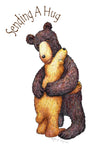 Sending A Hug... Two bears hugging, greeting card