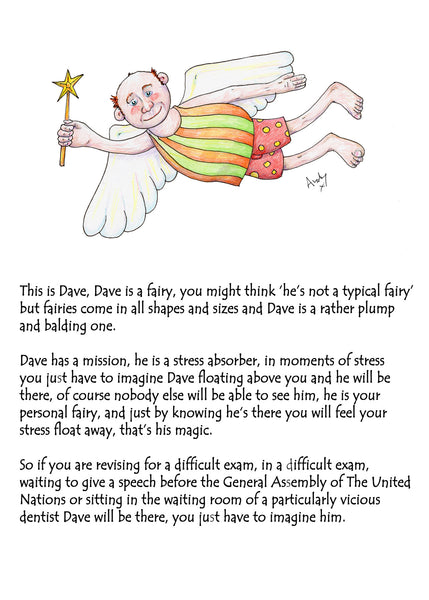 Dave The Fairy  A magical good luck card to calm exam nerves
