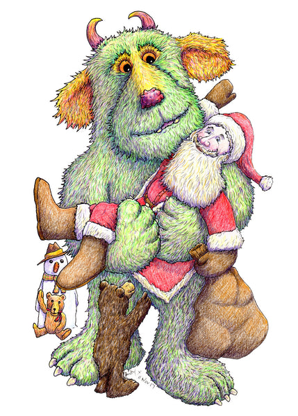 Monster Hugs, a Christmas Card for people who love Christmas and Monsters