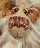 Alexandre de Grandnez, a very handsome and cuddly, one of a kind, teddy bear by Barbara-Ann Bears in wonderful fluffy and dense batik mohair. Alexandre de Grandnez stands 14 inches(35.5 cm) tall and is 11 inches (29 cm) sitting.