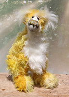 Alfredo Buttercup, a one of a kind, hand dyed mohair artist bear by Barbara-Ann Bears
