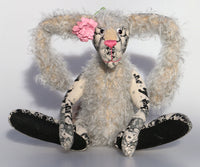 Alice Lovedoddle is a humorous and whimsical one of a kind artist hare or rabbit in printed linen, mohair and faux fur by Barbara Ann Bears