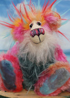 Anoushka Flambé a joyous celebration of colourful happiness, a one of a kind artist bear in hand dyed mohair & faux fur by Barbara-Ann Bears. Anoushka Flambé stands 10 inches( 25 cm) tall and is 7.5 inches ( 19 cm) sitting, this doesn't include her flaming hair which adds another 2.5 inches (7cm).