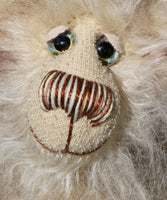 Arthur is an endearingly sweet one of a kind, artist bear by Barbara-Ann Bears in wonderfully fluffy mohair and faux fur. Arthur stands 8 inches (20 cm) tall and is 6 inches (15 cm) sitting.