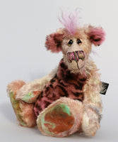 Astrid Plunkwaffle, a happy, wild and loveable, one of a kind, hand dyed mohair artist bear by Barbara-Ann Bears Astrid Plunkwaffle stands 10 inches (25 cm) tall and is 8 inches ( 20 cm) sitting, this doesn't include her beautiful mohawk which adds another 2.5 inches (6cm). Astrid Plunkwaffle is a sweetheart