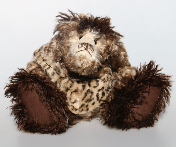 Borodin The Bison Biter is a wild and grumpy, number one in an edition of ten, artist bear made from fluffy and tipped mohairs by Barbara Ann Bears