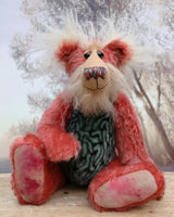 Billy 'Brains' McMurray, a cheerful, inquisitive and loveable one of a kind artist bear in by Barbara-Ann Bears, he stands 13.5 inches(34 cm) tall and is 10 inches ( 25 cm) sitting. Billy is made from a straight pile strawberry red mohair with brown tipping, his tummy is a turquoise faux fur with a brain coral pattern