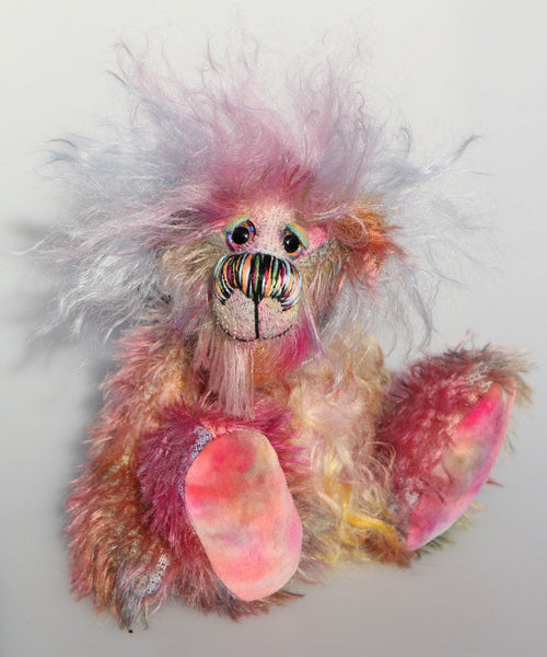 Bronwyn is a beautiful, happy and subtly colourful, one of a kind, hand dyed mohair artist teddy bear by Barbara-Ann Bears