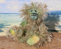 Byron is a wild thing, yet a very friendly wild thing, a one of a kind, hand dyed mohair artist bear by Barbara-Ann Bears, he stands 10.5 inches (26 cm) tall and is 8 inches (20 cm) sitting. He is made from a gorgeous, long, straggly mohair that Barbara has dyed in jade, turquoise with some green, amber and sky blue