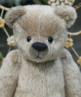 The Frederick Teddy Bear pattern makes a sweet traditional Barbara-Ann Bear about 15 inches (38cm) tall. This one in short straight mohair